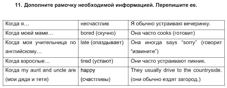 Английский язык 7 класс Биболетова М. З. Unit 1. Международные соревнования тинейджеров / Домашняя работа: 11