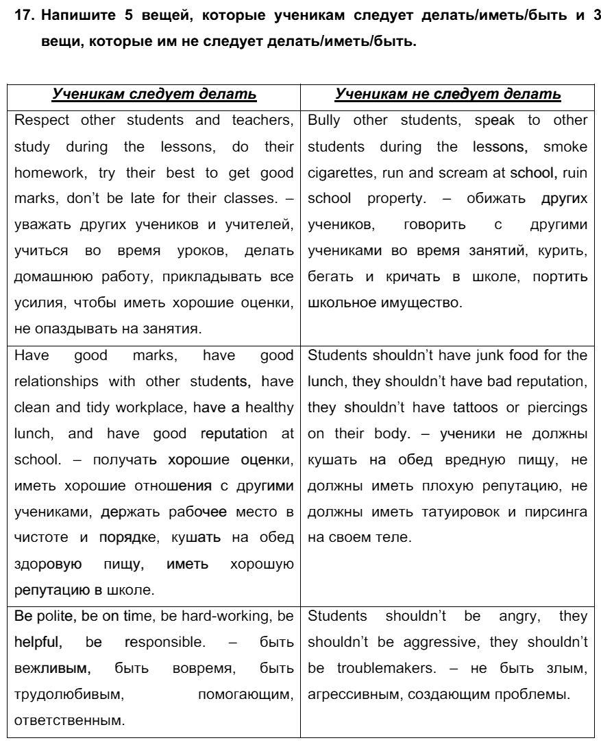 Английский язык 7 класс Биболетова М. З. Unit 3. Взгляните на проблемы подростков: школьное образование / Домашняя работа: 17