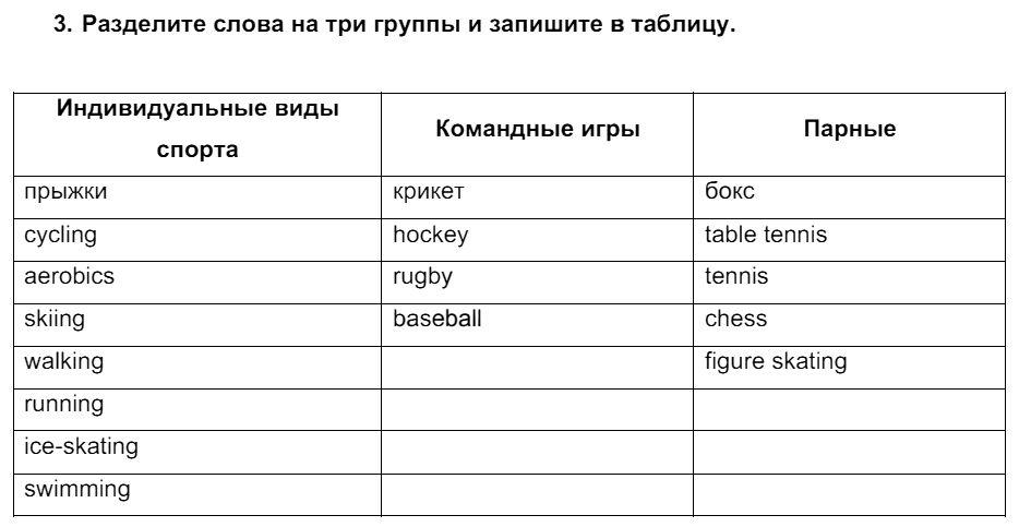 Английский язык 7 класс Биболетова М. З. Unit 4. Спорт - это весело / Домашняя работа: 3