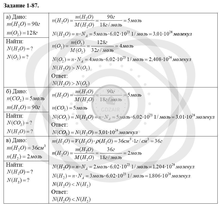 Химия 8 класс Кузнецова Н. Е. Глава 1. Первоначальные химические понятия / Задания: 87