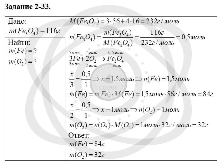 Химия 8 класс Кузнецова Н. Е. Глава 2. Химические реакции / Задания: 33