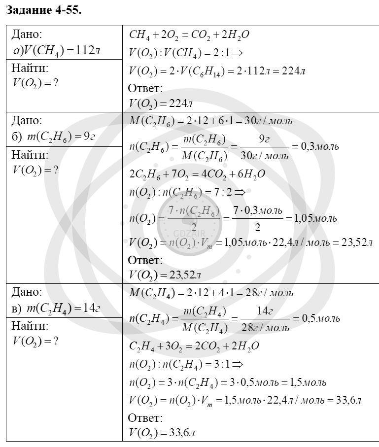 Химия 8 класс Кузнецова Н. Е. Глава 4. Газы. Кислород. Горение / Задания: 55