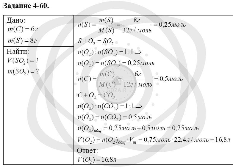 Химия 8 класс Кузнецова Н. Е. Глава 4. Газы. Кислород. Горение / Задания: 60