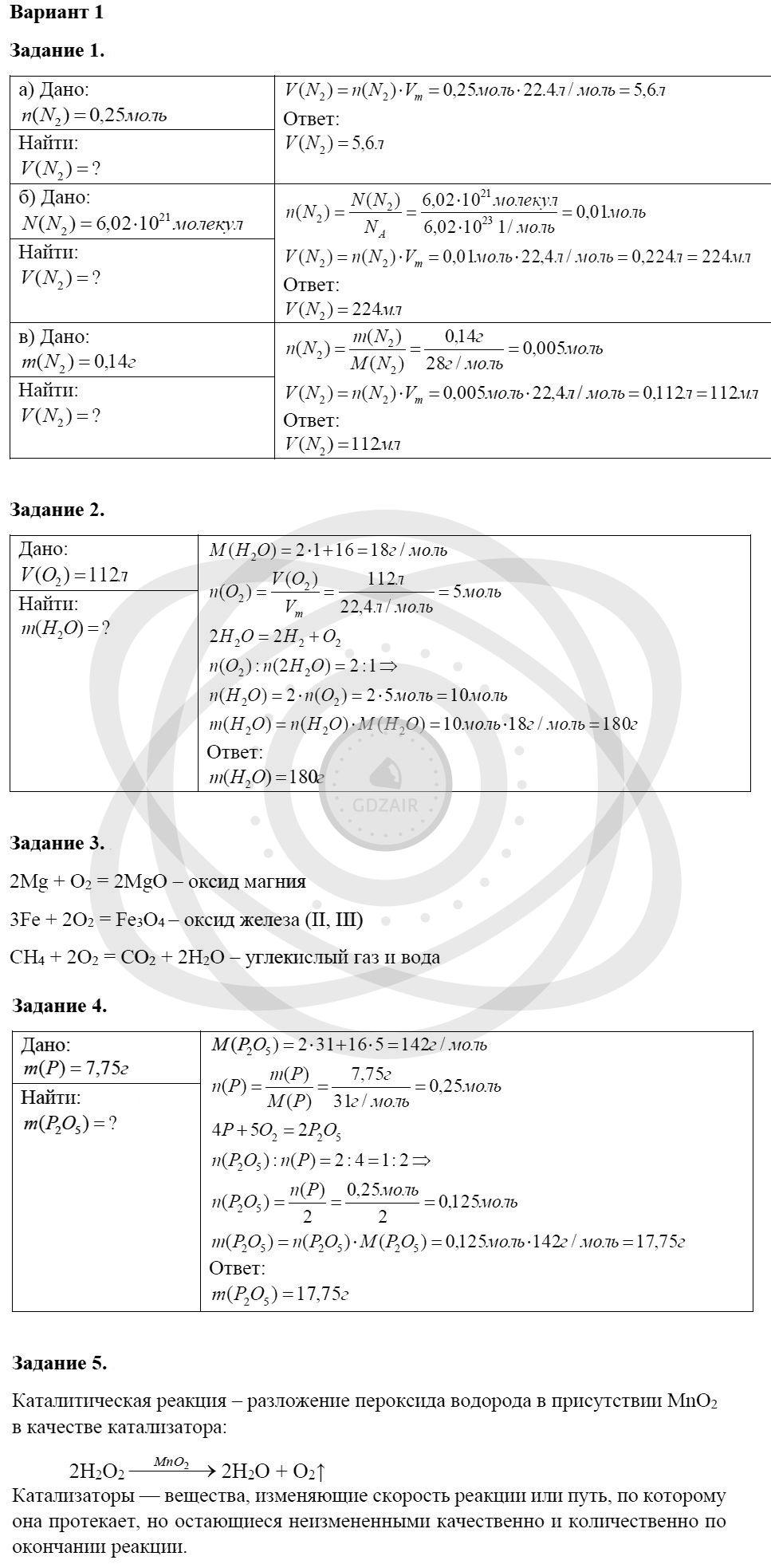 Химия 8 класс Кузнецова Н. Е. Глава 4. Газы. Кислород. Горение / Контрольная работа: Вариант 1