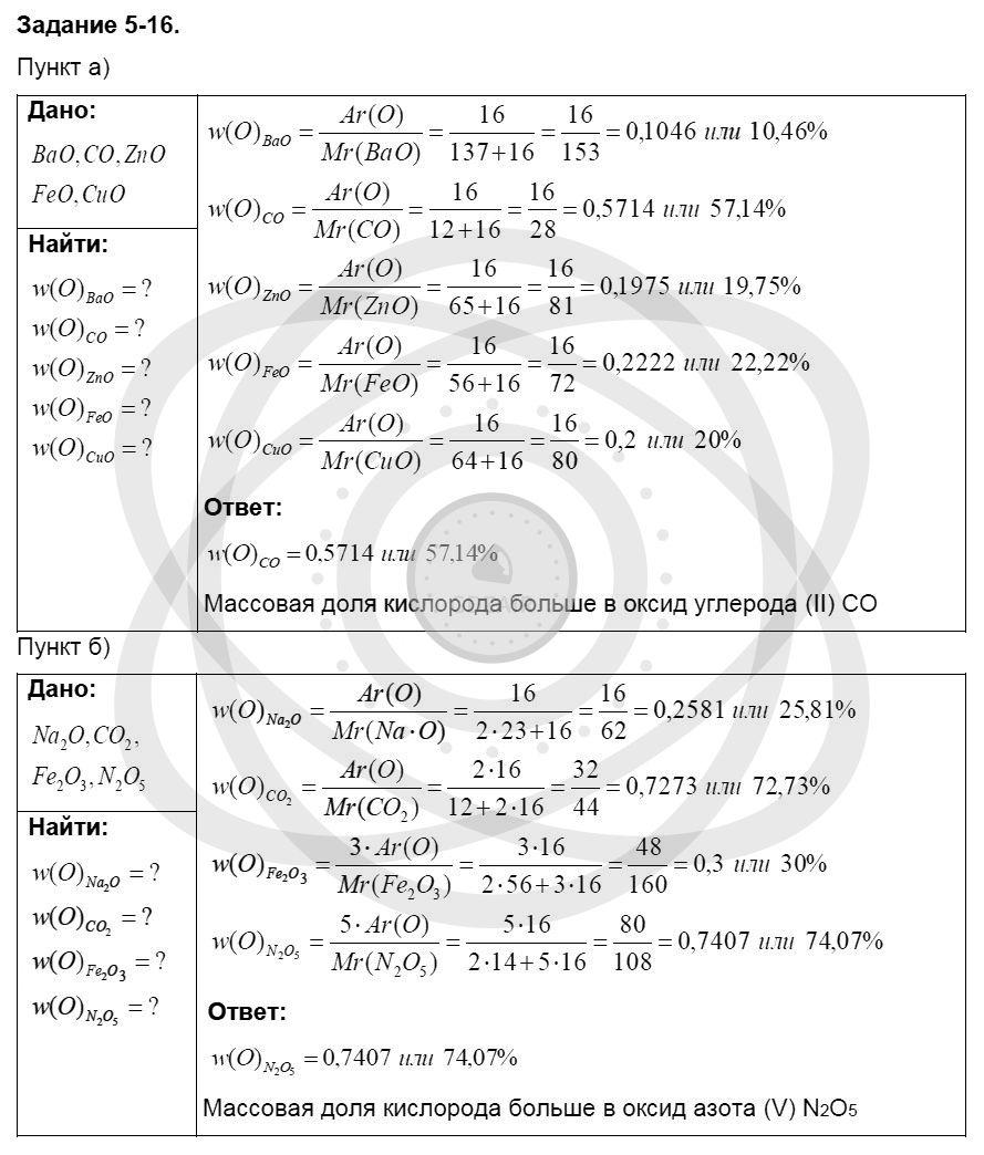 Химия 8 класс Кузнецова Н. Е. Глава 5. Основные классы неорганических соединений / Задания: 16