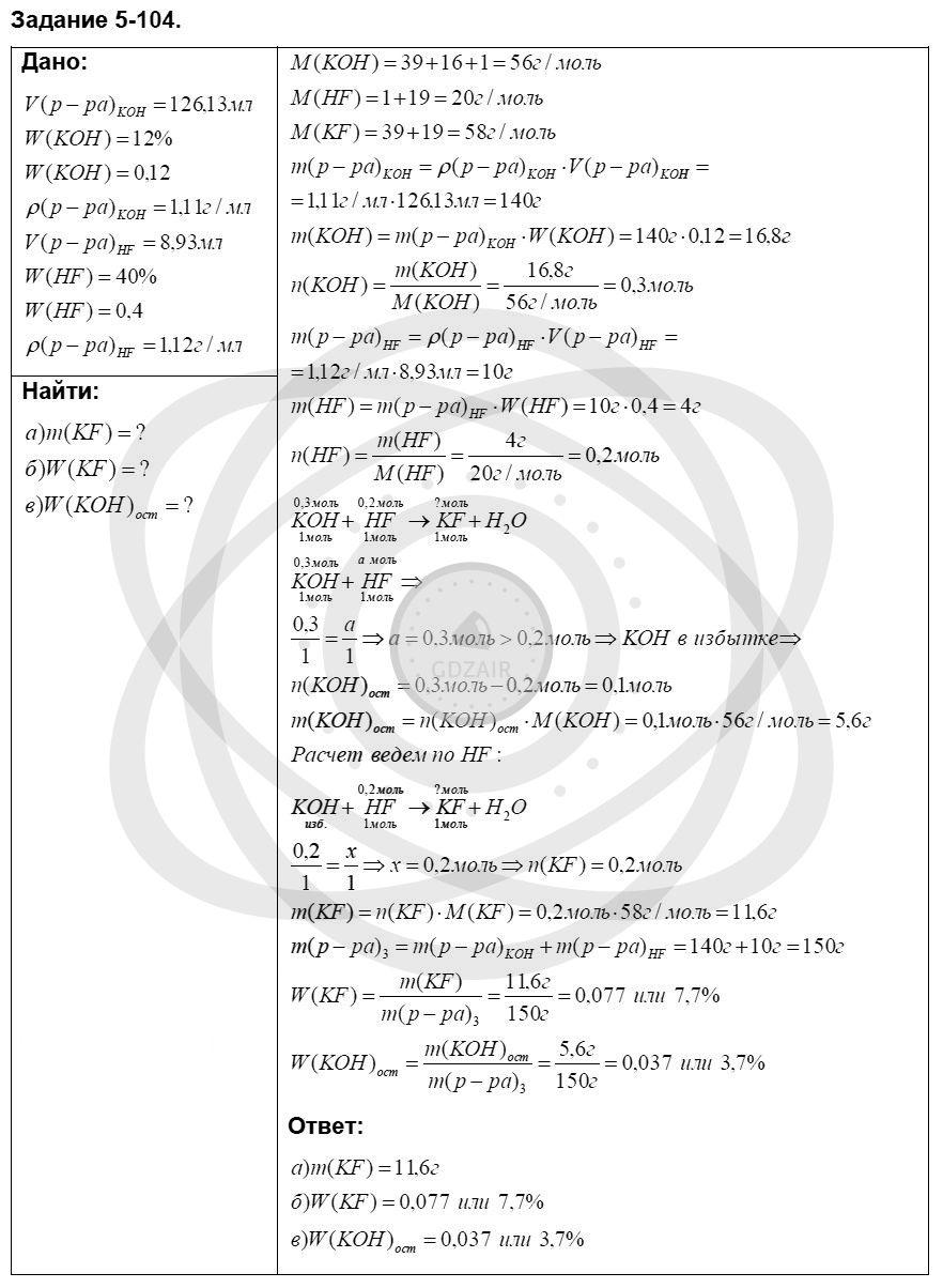 Химия 8 класс Кузнецова Н. Е. Глава 5. Основные классы неорганических соединений / Задания: 104