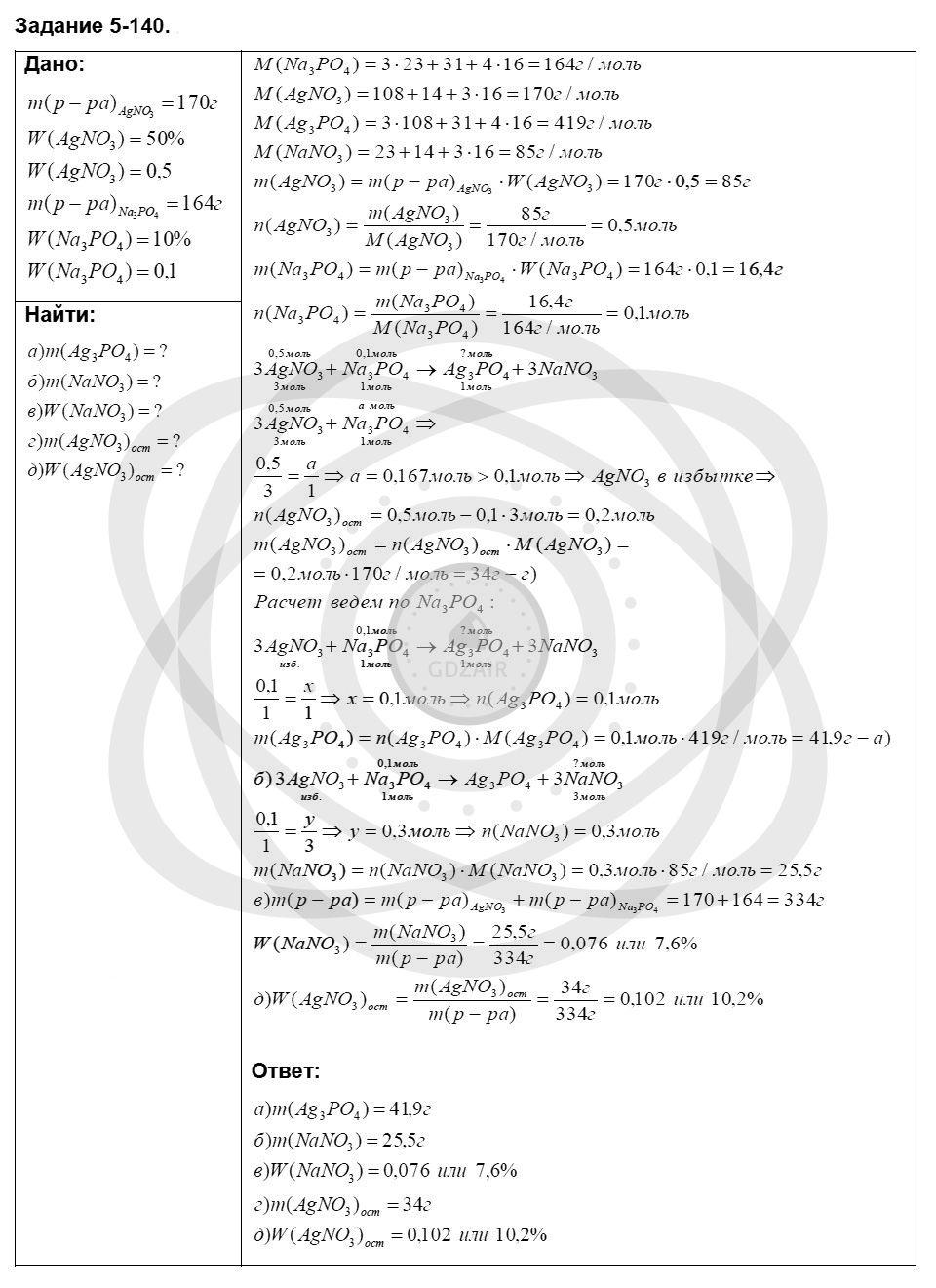 Химия 8 класс Кузнецова Н. Е. Глава 5. Основные классы неорганических соединений / Задания: 140
