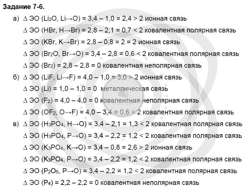 Химия 8 класс Кузнецова Н. Е. Глава 7. Строение вещества. Химические реакции в свете электронной теории / Задания: 6