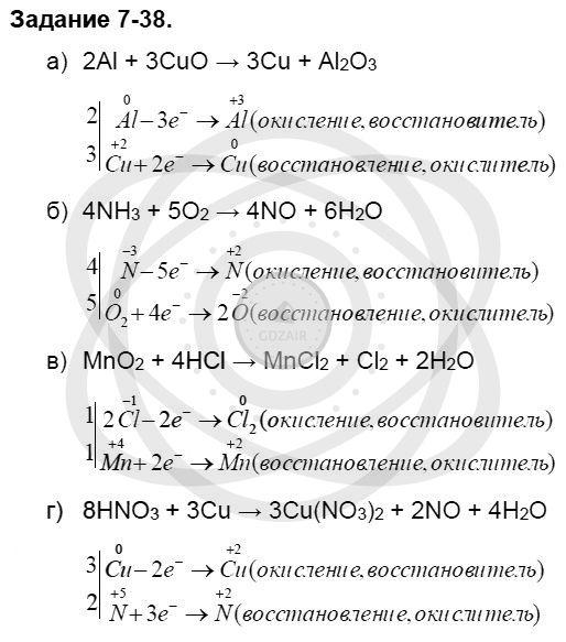Химия 8 класс Кузнецова Н. Е. Глава 7. Строение вещества. Химические реакции в свете электронной теории / Задания: 38