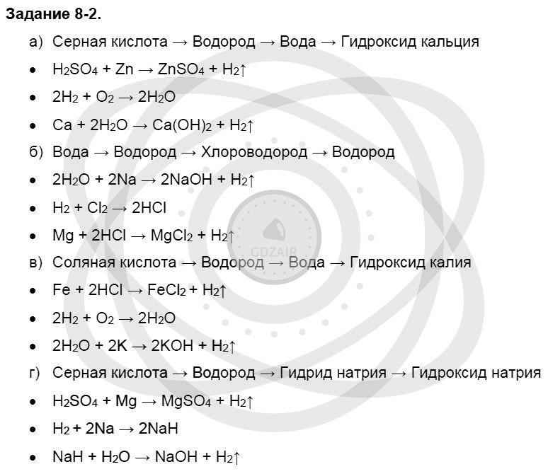 Химия 8 класс Кузнецова Н. Е. Глава 8. Водород. Галогены / Задания: 2