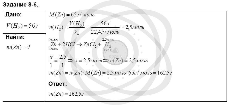 Химия 8 класс Кузнецова Н. Е. Глава 8. Водород. Галогены / Задания: 6