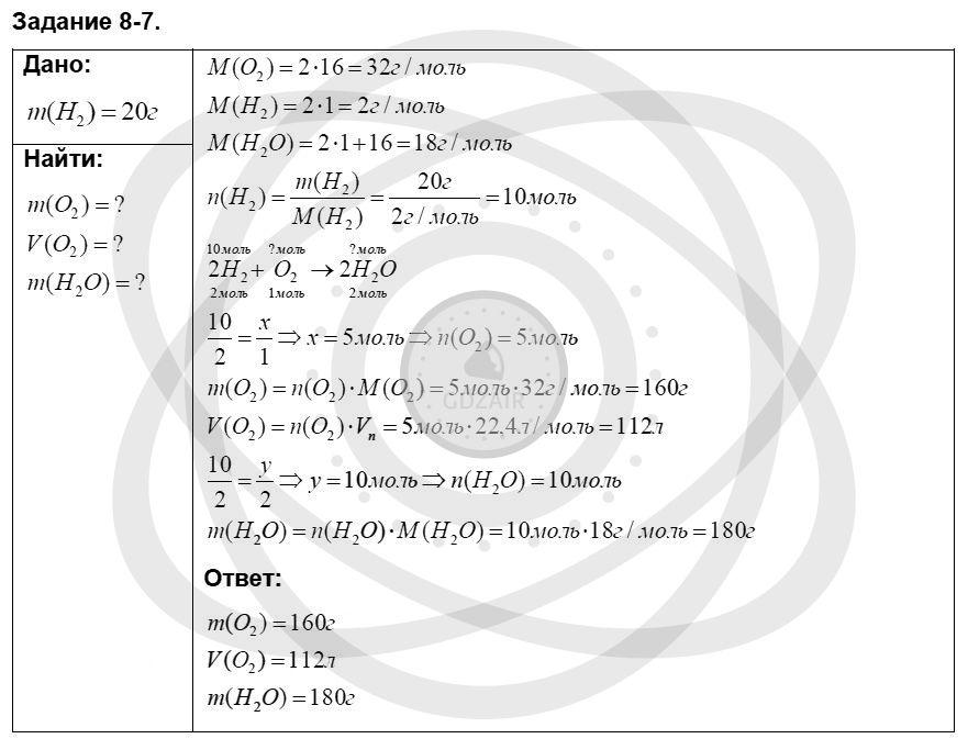 Химия 8 класс Кузнецова Н. Е. Глава 8. Водород. Галогены / Задания: 7