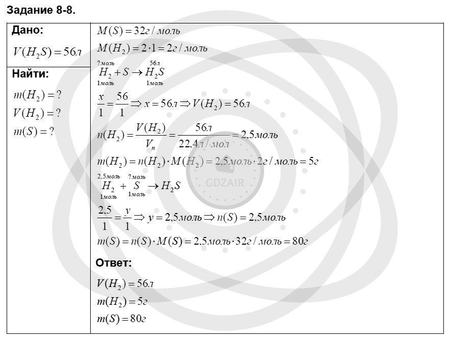 Химия 8 класс Кузнецова Н. Е. Глава 8. Водород. Галогены / Задания: 8