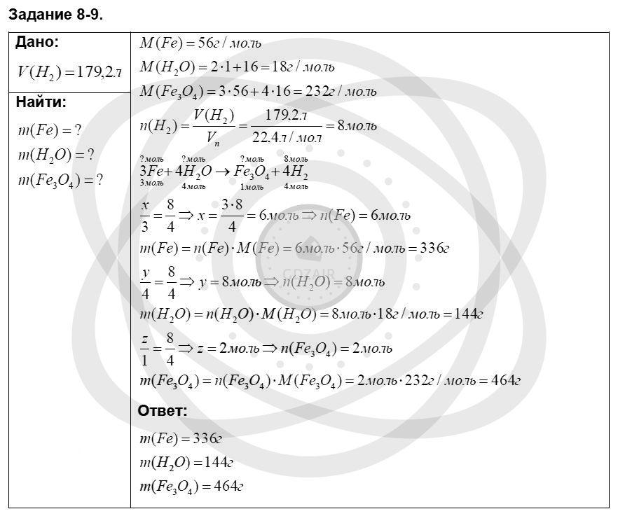 Химия 8 класс Кузнецова Н. Е. Глава 8. Водород. Галогены / Задания: 9
