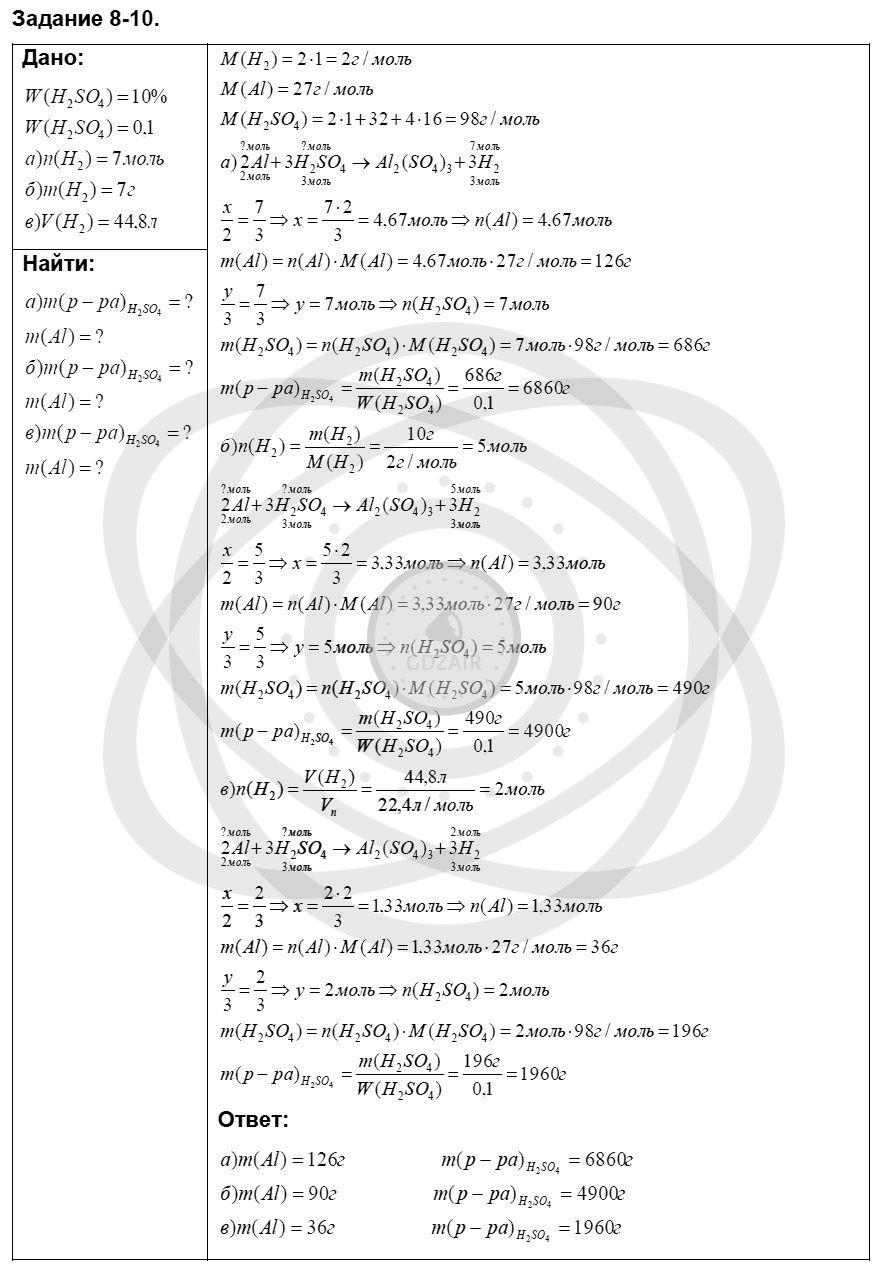 Химия 8 класс Кузнецова Н. Е. Глава 8. Водород. Галогены / Задания: 10