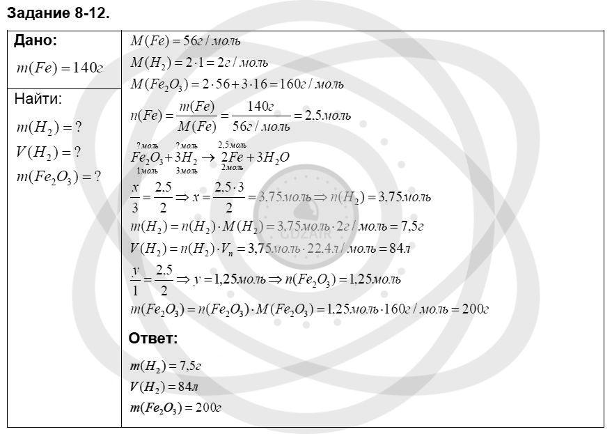 Химия 8 класс Кузнецова Н. Е. Глава 8. Водород. Галогены / Задания: 12