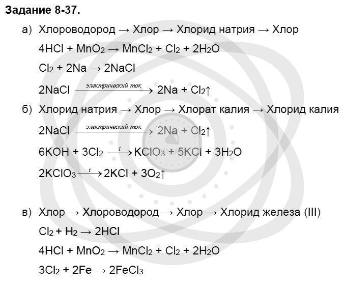 Химия 8 класс Кузнецова Н. Е. Глава 8. Водород. Галогены / Задания: 37