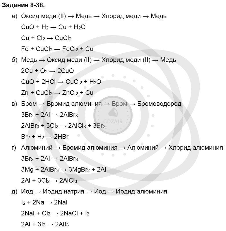 Химия 8 класс Кузнецова Н. Е. Глава 8. Водород. Галогены / Задания: 38