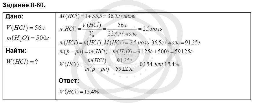 Химия 8 класс Кузнецова Н. Е. Глава 8. Водород. Галогены / Задания: 60