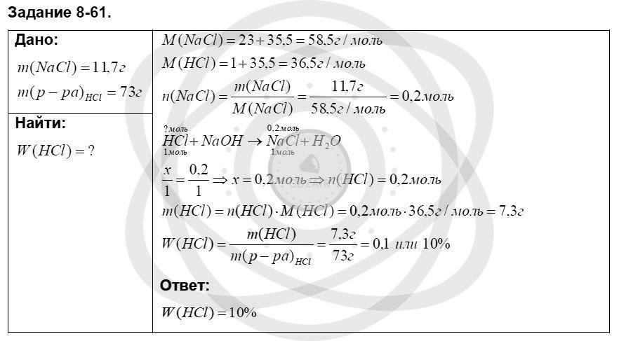 Химия 8 класс Кузнецова Н. Е. Глава 8. Водород. Галогены / Задания: 61
