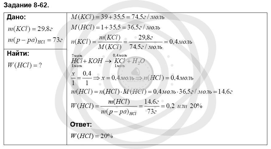 Химия 8 класс Кузнецова Н. Е. Глава 8. Водород. Галогены / Задания: 62