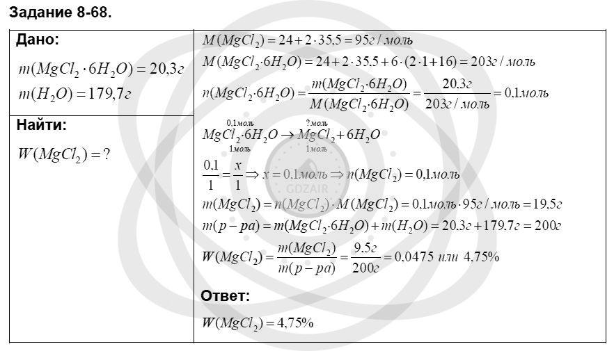 Химия 8 класс Кузнецова Н. Е. Глава 8. Водород. Галогены / Задания: 68