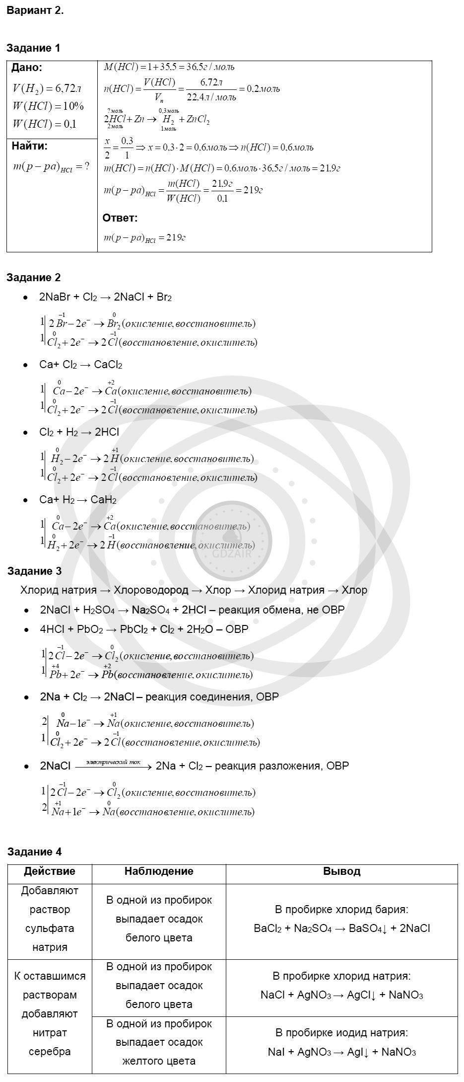 Химия 8 класс Кузнецова Н. Е. Глава 8. Водород. Галогены / Контрольная работа: Вариант 2
