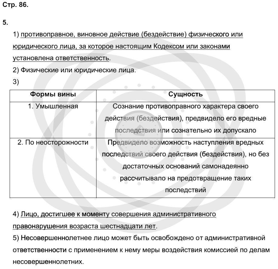 Обществознание 9 класс Котова О. А. Страницы: 86