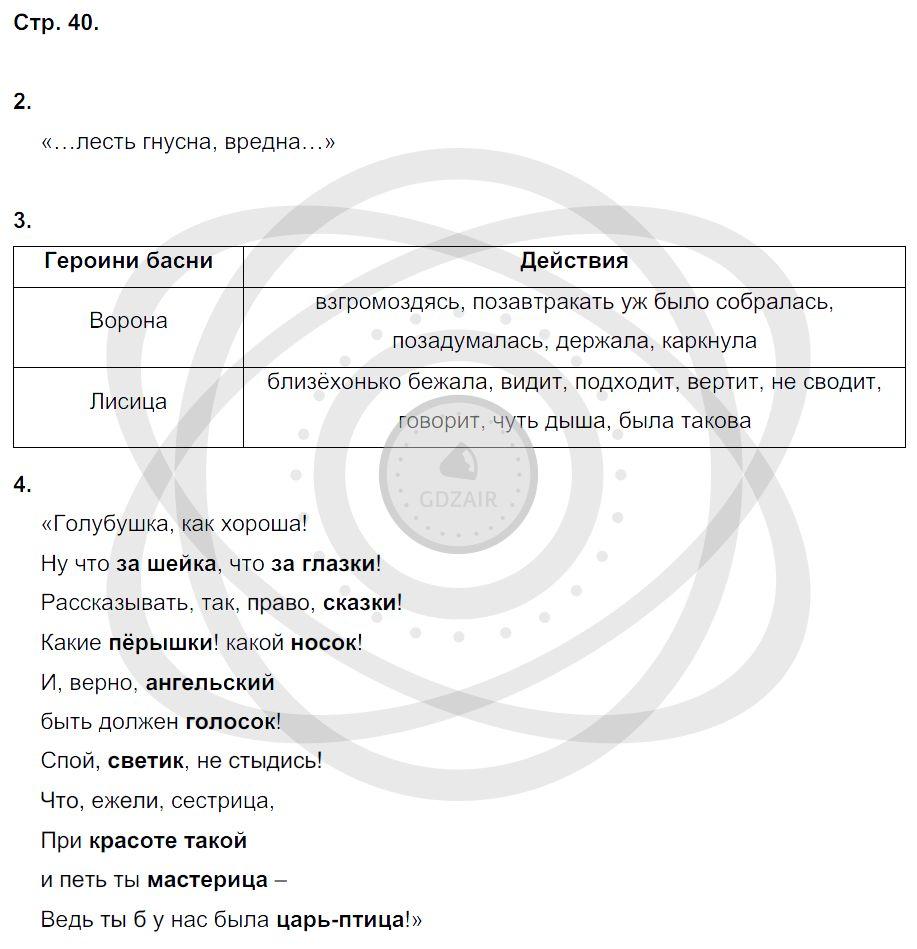 Литература 3 класс Ефросинина Л. А. Страницы: 40