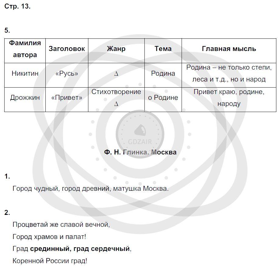 Литература 3 класс Ефросинина Л. А. Страницы: 13