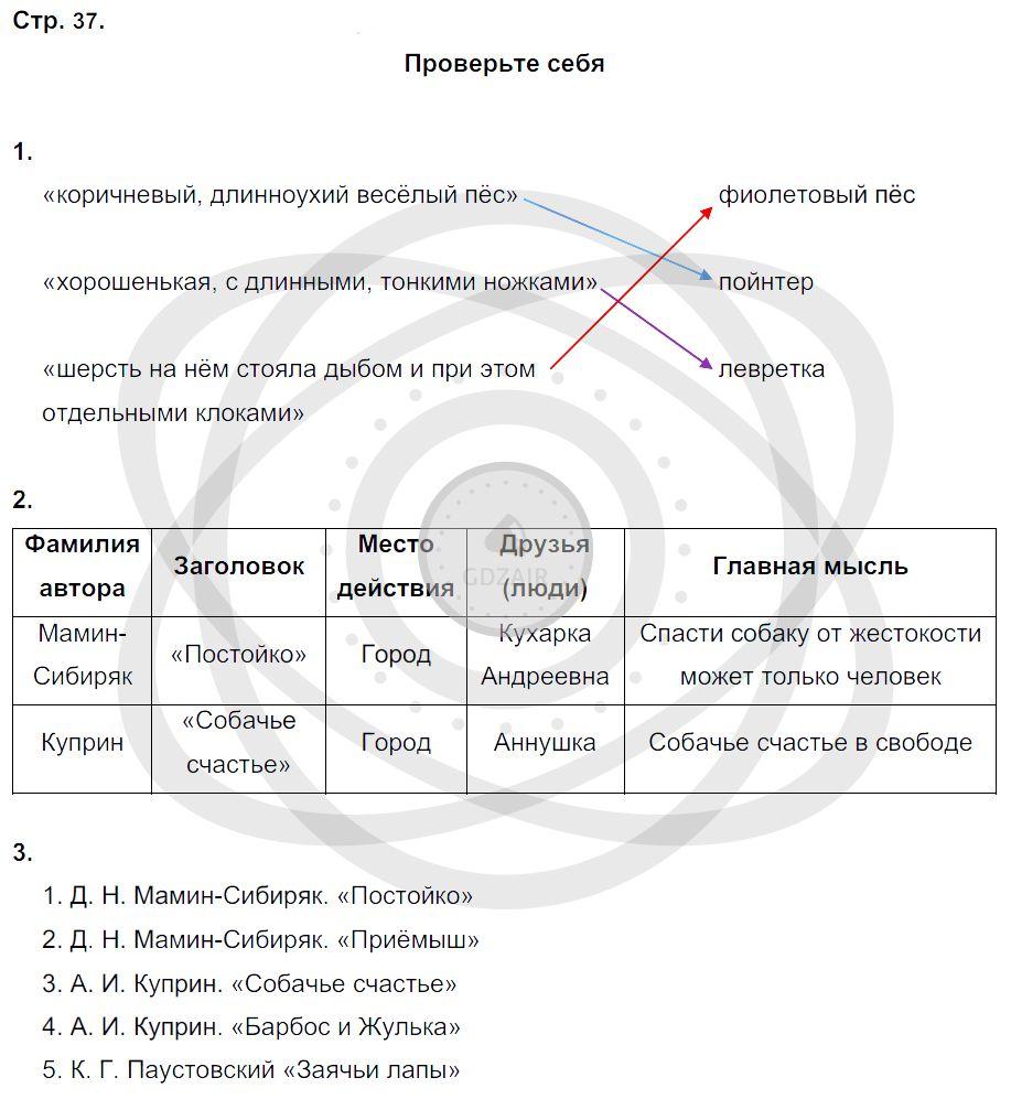 Литература 3 класс Ефросинина Л. А. Страницы: 37