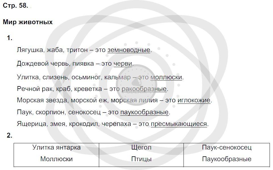 Окружающий мир 3 класс Плешаков А. А. Страницы: 58