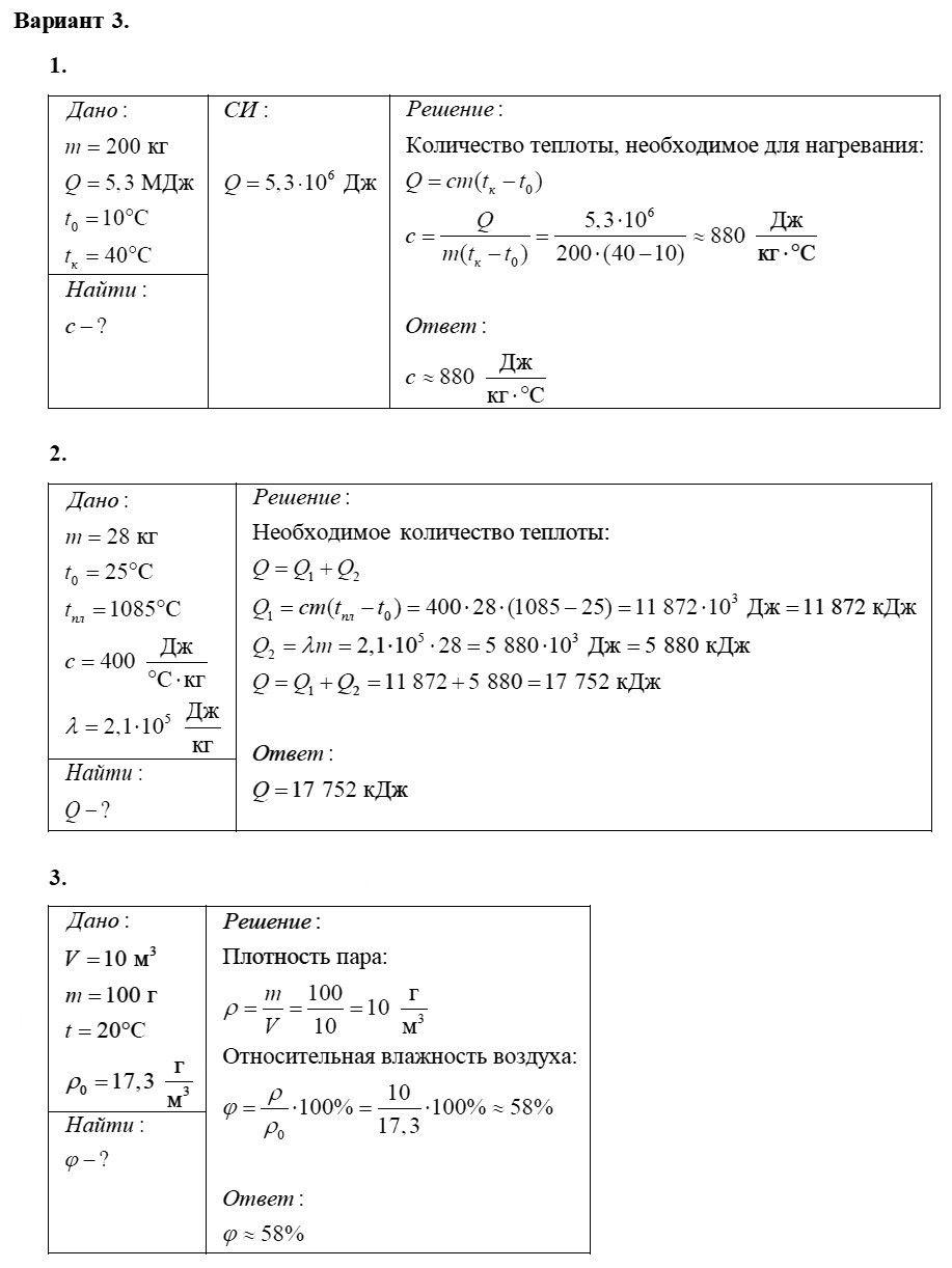 Физика 8 класс Марон А. Е. Контрольные работы / 1. Тепловые явления: Вариант 3