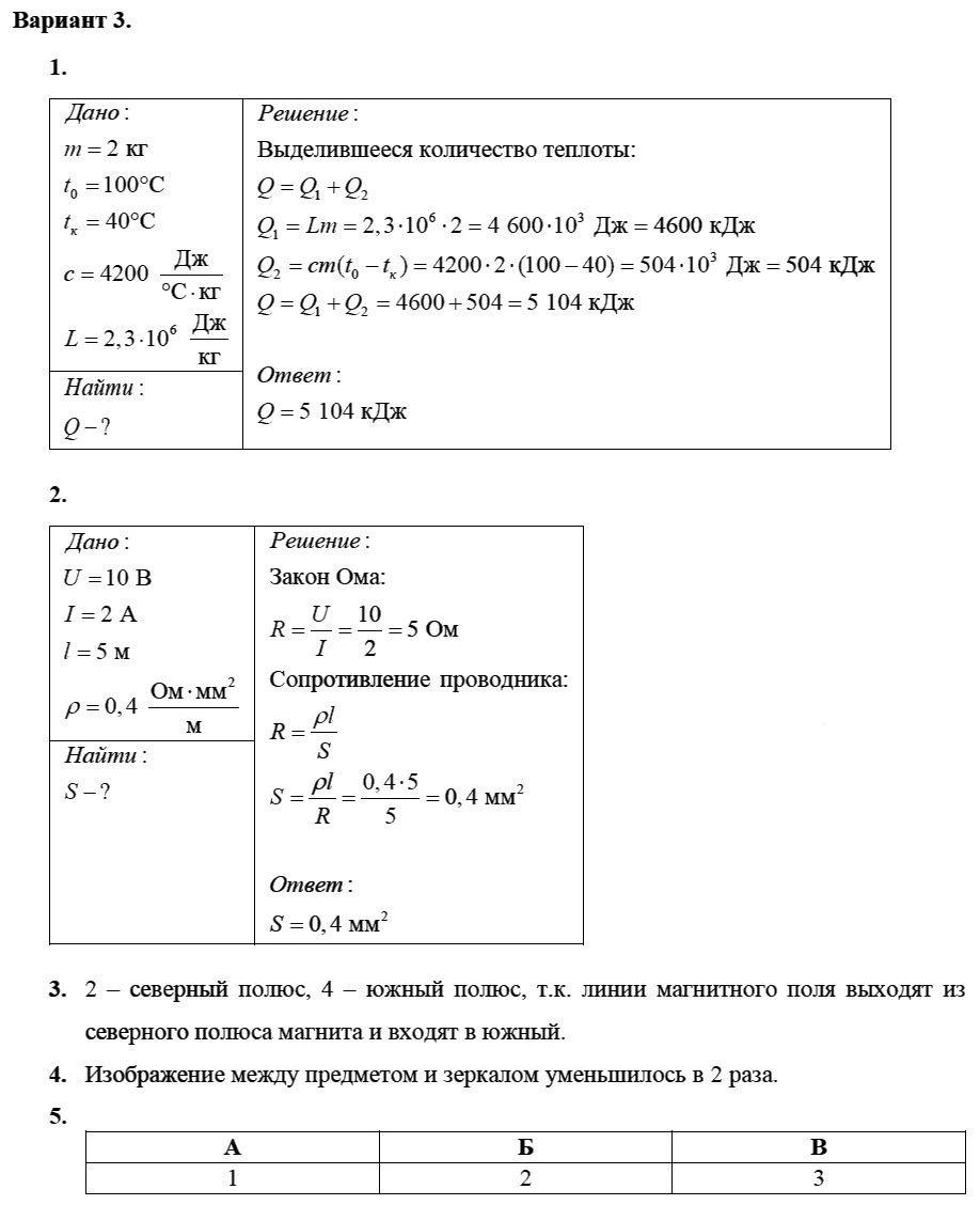 Физика 8 класс Марон А. Е. Контрольные работы / 5. Итоговая: Вариант 3