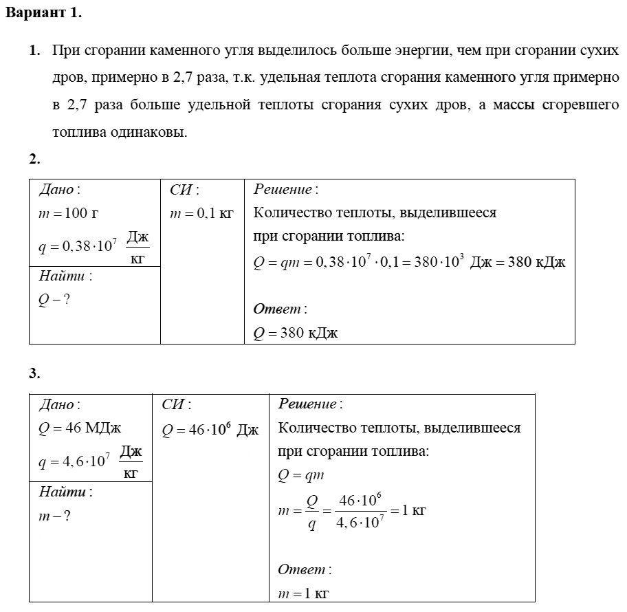 Физика 8 класс Марон А. Е. Самостоятельные работы / 10. Энергия топлива. Удельная теплота сгорания: Вариант 1