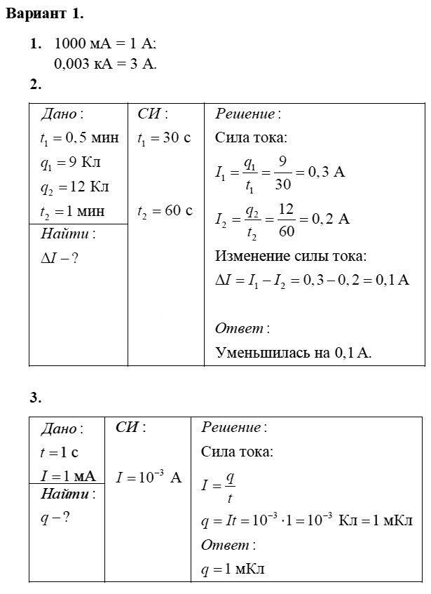Физика 8 класс Марон А. Е. Самостоятельные работы / 37. Сила тока. Единицы силы тока: Вариант 1