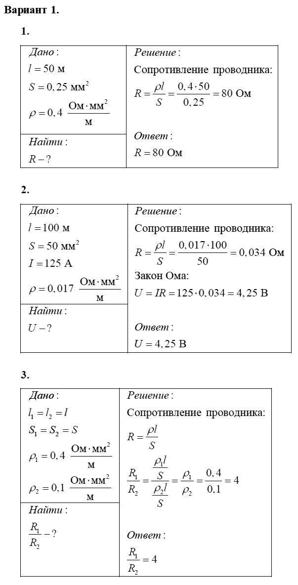 Физика 8 класс Марон А. Е. Самостоятельные работы / 46. Примеры на расчёт сопротивления проводника, силы тока и напряжения: Вариант 1