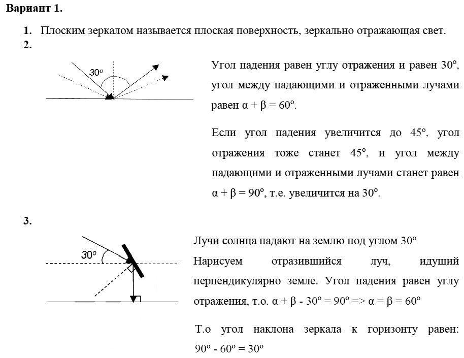 Физика 8 класс Марон А. Е. Самостоятельные работы / 66. Плоское зеркало: Вариант 1