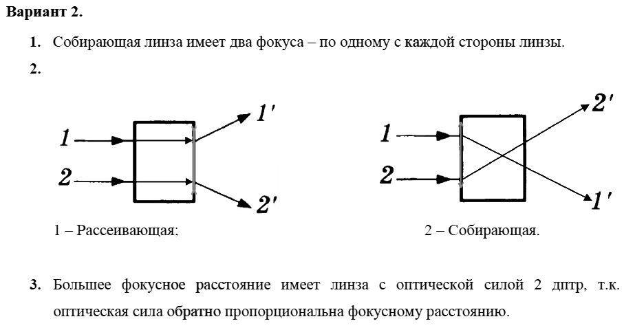 Физика 8 класс Марон А. Е. Самостоятельные работы / 68. Линзы. Оптическая сила линзы: Вариант 2