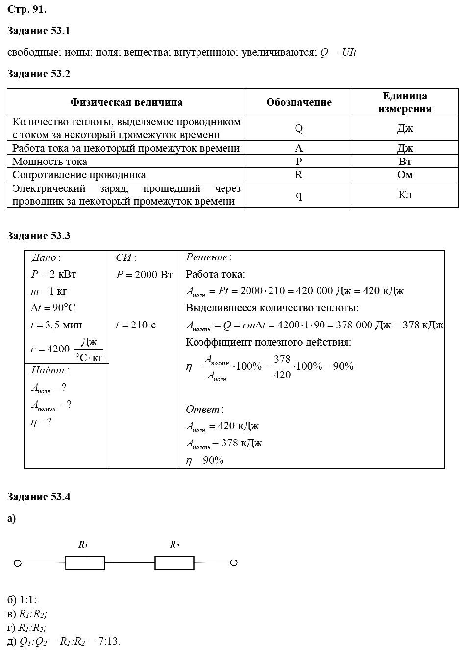 Физика 8 класс Ханнанова Т. А. Страницы: 91