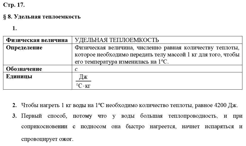Физика 8 класс Касьянов В. А. Страницы: 17