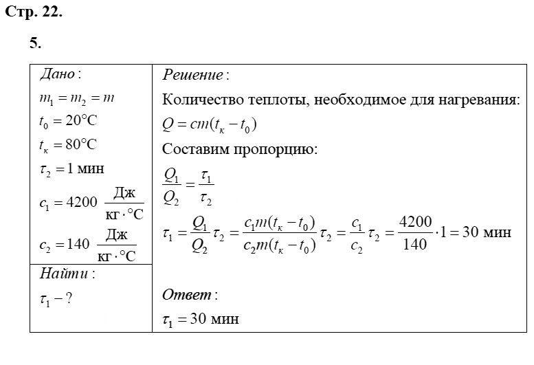 Физика 8 класс Касьянов В. А. Страницы: 22