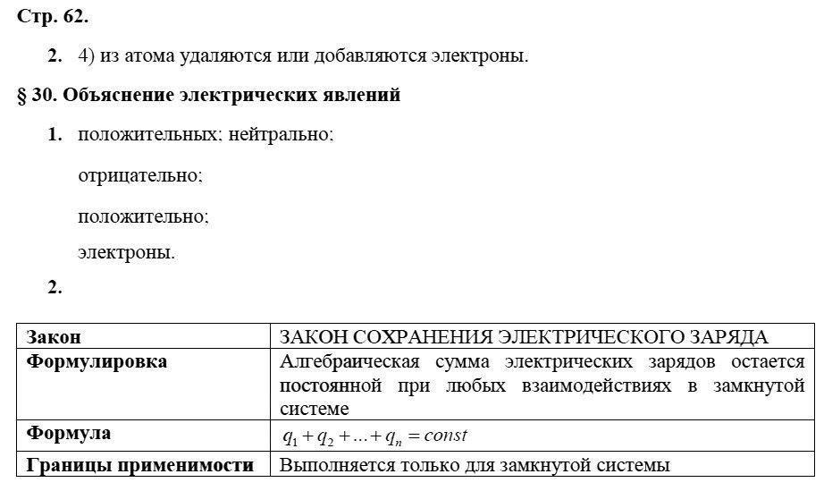 Физика 8 класс Касьянов В. А. Страницы: 62