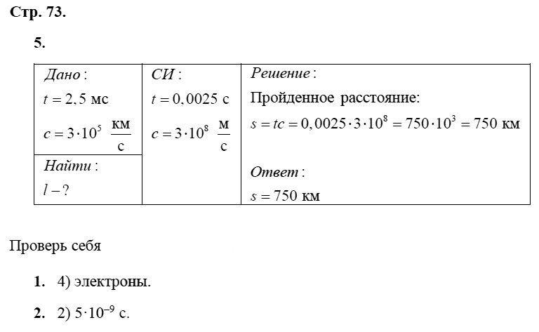 Физика 8 класс Касьянов В. А. Страницы: 73