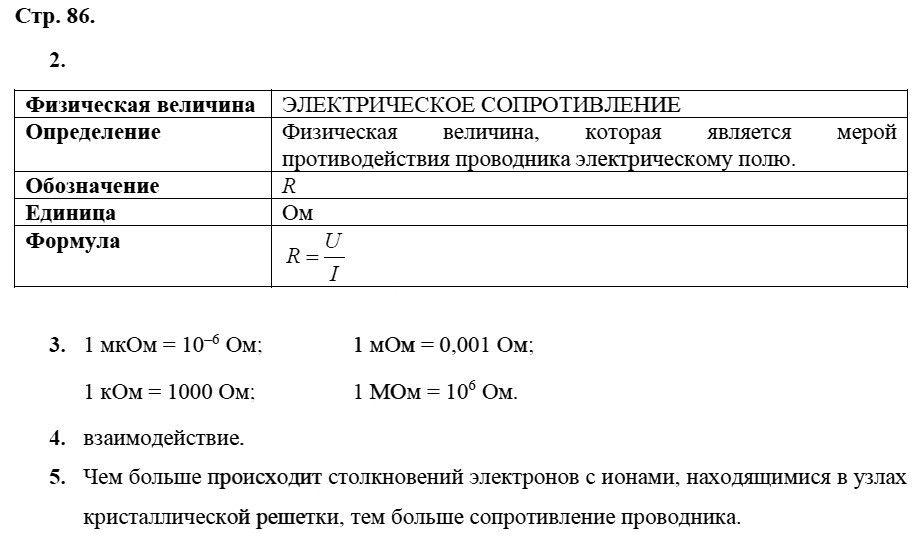 Физика 8 класс Касьянов В. А. Страницы: 86