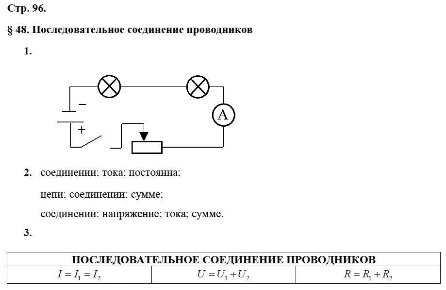 Физика 8 класс Касьянов В. А. Страницы: 96