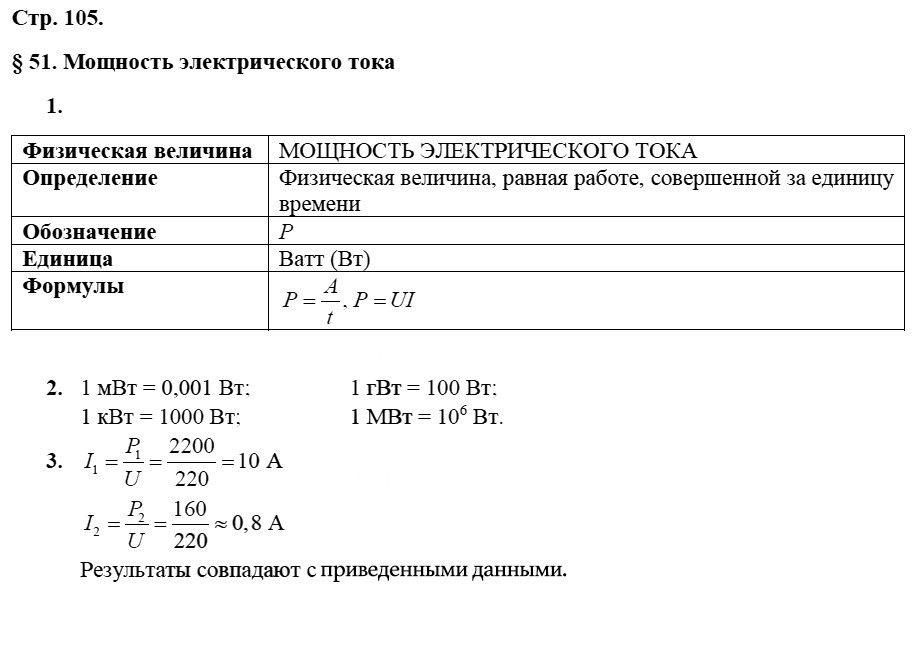 Физика 8 класс Касьянов В. А. Страницы: 105