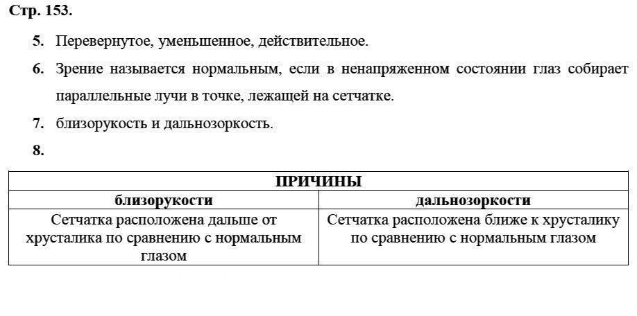 Физика 8 класс Касьянов В. А. Страницы: 153