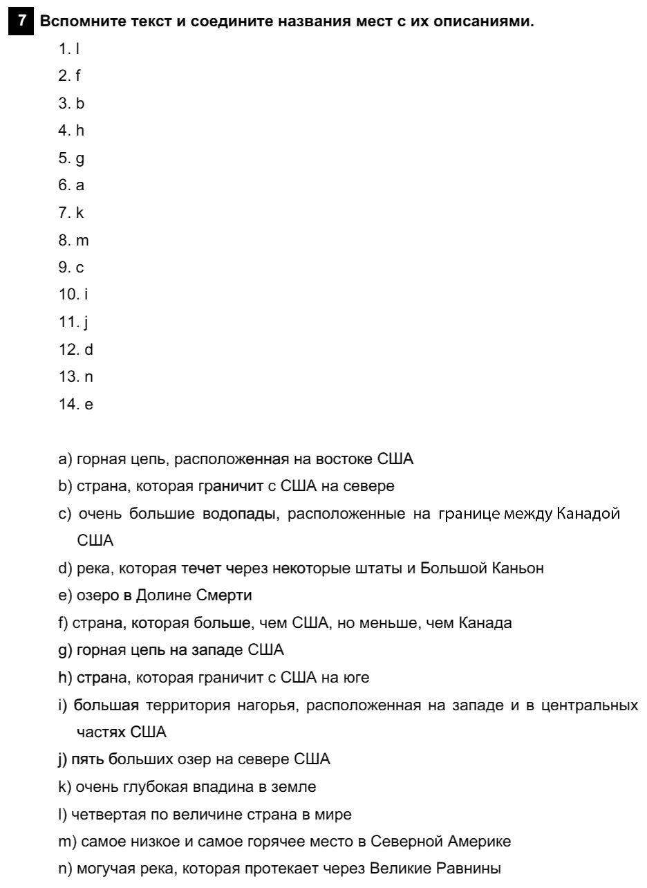 Английский язык 7 класс Афанасьева О. В. Unit 3. Несколько фактов об англоговорящем мире / Шаг 2: 7